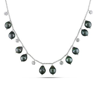 Miadora Sterling Silver Cubic Zirconia and Tahitian Black Pearl Necklace (9-9.5 mm)