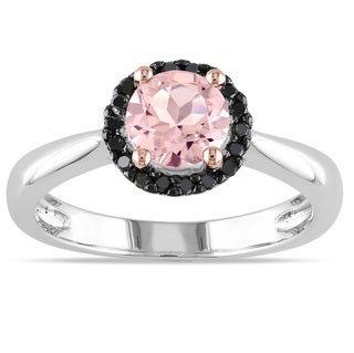 Miadora Sterling Silver Morganite and 1/10ct TDW Black Diamond Ring