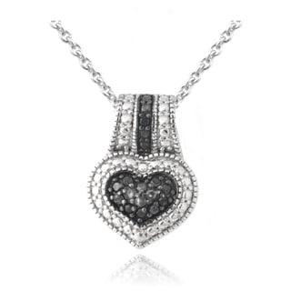 DB Designs Rhodium-plated 1/10ct TDW Black Diamond Heart Necklace