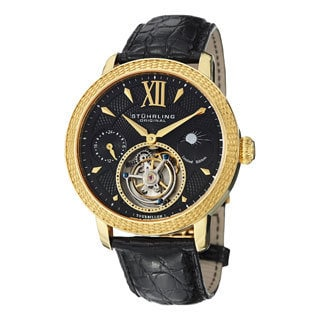 Stuhrling Original Men's Damier Tourbillon Mechanical Crocodile Strap Watch