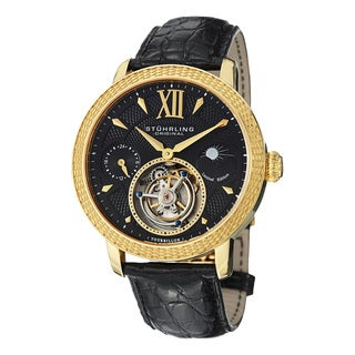 Stuhrling Original Men's Damier Tourbillon Mechanical Crocodile Strap Watch with Goldtone Case