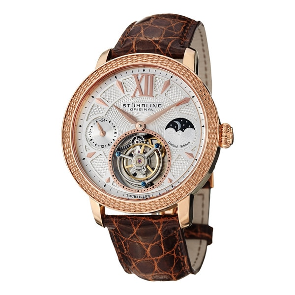 Stuhrling Original Men's Damier Tourbillon Mechanical Brown Crocodile Strap Watch