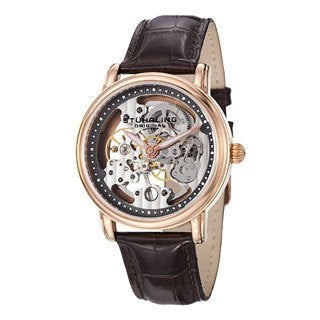 Stuhrling Original Men's Delphi Black Mechanical Skelton Leather-strap Watch