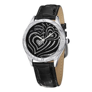 Stuhrling Original Women's Aphrodite Elegante Quartz Swarovski Crystal Black Leather Strap Watch