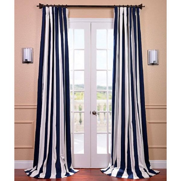Cabana Navy Stripe Cotton Curtain Panel