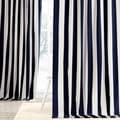 Exclusive Fabrics Cabana Navy Stripe Cotton Curtain Panel