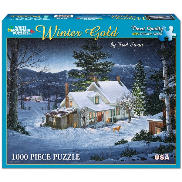 White Mountain Puzzles Fred Swan Winter Gold 1000 Piece Jigsaw Puzzle