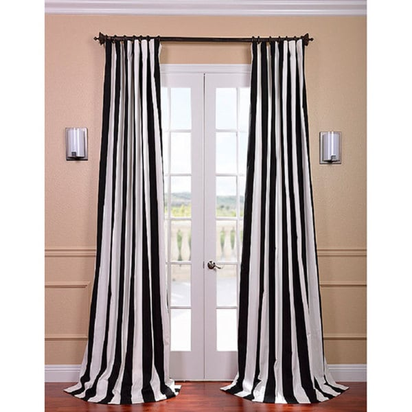 EFF Cabana Black Stripe Cotton Curtain Panel