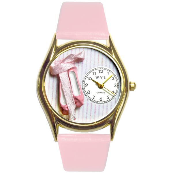 Whimsical Ballet Shoes Pink Leather Watch