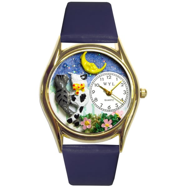 Whimsical Cats Night Out Royal Blue Leather Watch