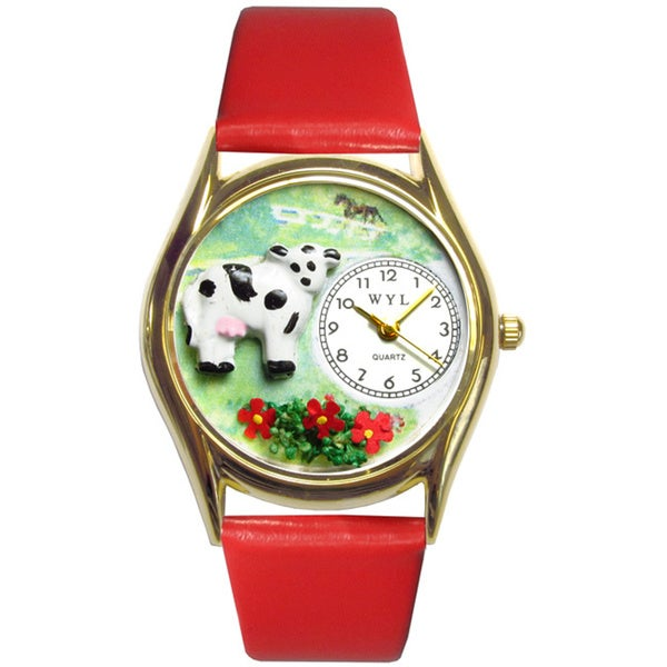 Cow Black Leather Watch