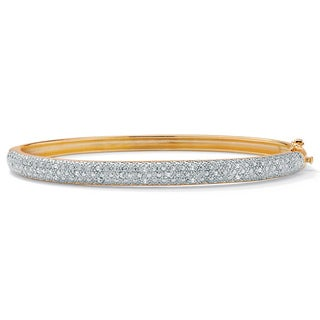 Isabella Collection Gold Overlay 1/4ct TDW Diamond Bangle (I-J, I2-I3)