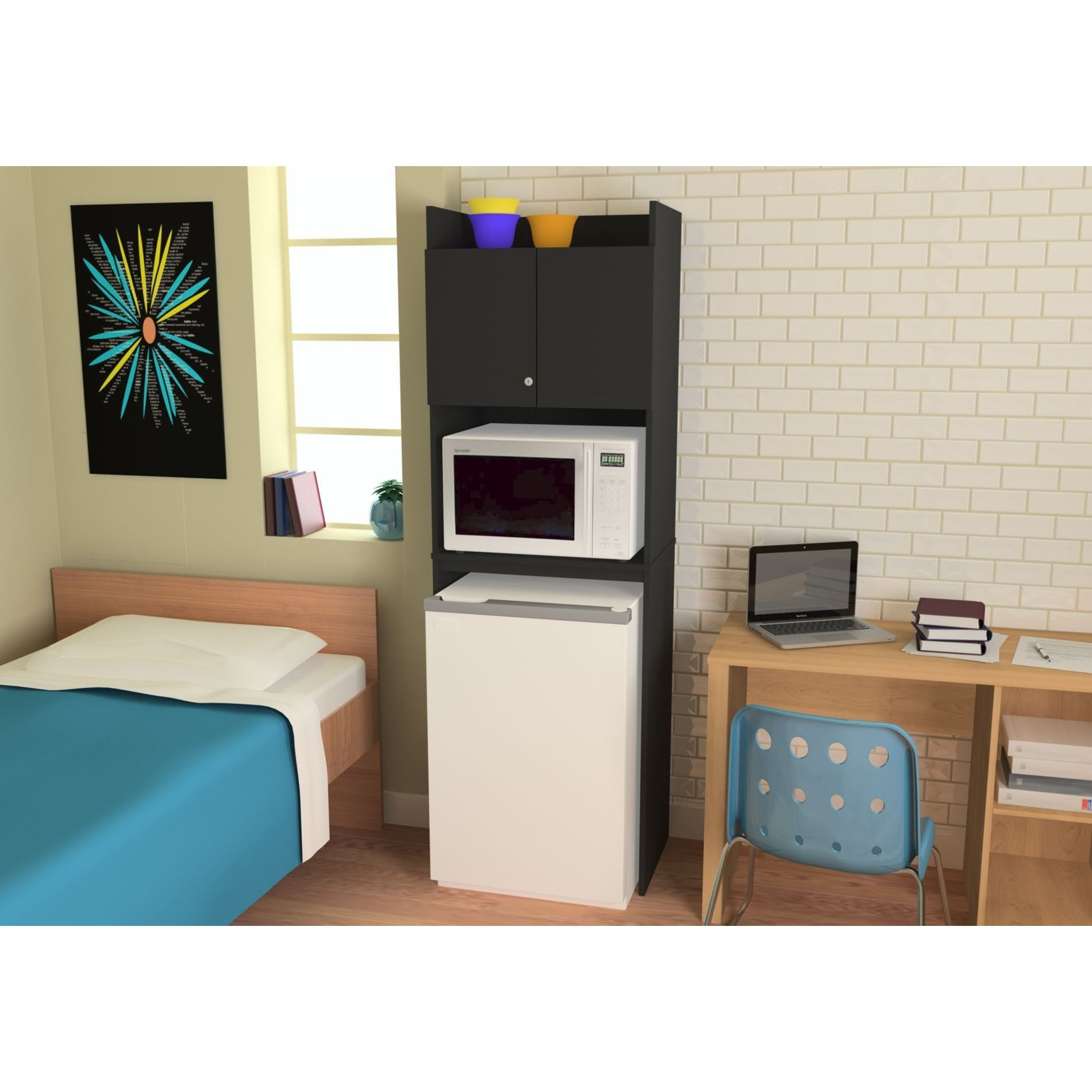 Decorating Ideas > Black Microwave Cabinet Space Saver Locking Cabinet Dorm  ~ 080753_Dorm Room Fridge Ideas