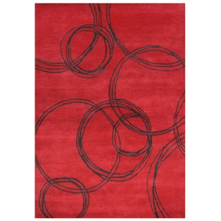 Hand-carved Alliyah Hand Made Red Wool Blend Rug (5' x 8')