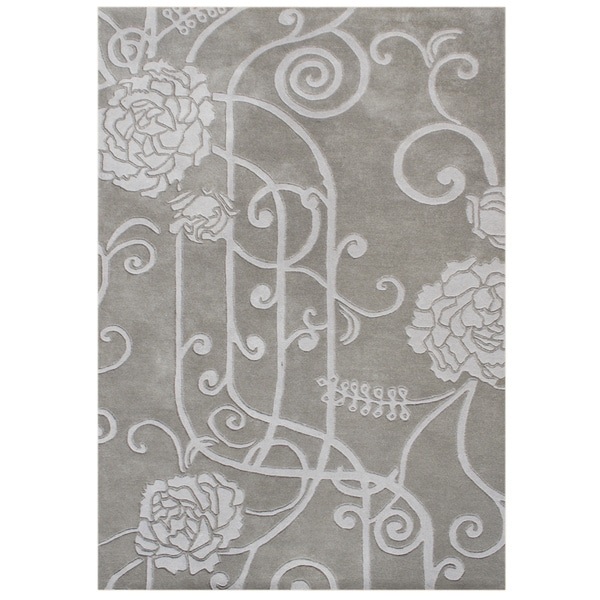 Hand-carved Alliyah Hand Made Grey Wool Blend Rug (5' x 8')