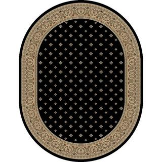 Black Formal Transitional Oval Area Rug (5'3 x 6'10)