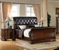 Luxury Brown Cherry Leatherette Baroque Style Sleigh Bed with Nightstand Bedroom Set