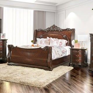 Enitial Lab Luxury Brown Cherry Baroque Style Sleigh Bed with Nightstand Bedroom Set