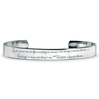 "PalmBeach Stainless Steel Inspirational ""Serenity Prayer"" Cuff Bracelet 8 1/2"""
