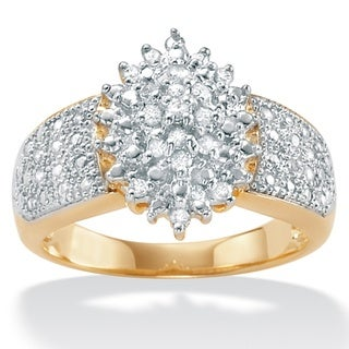 PalmBeach 18k Gold over Silver 1/4ct TDW Diamond Ring (H-I, I2-I3)