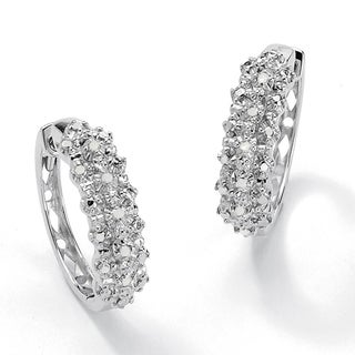 Isabella Collection Platinum/ Silver 1/10ct TDW Diamond Hoop Earrings (H-I, I3)