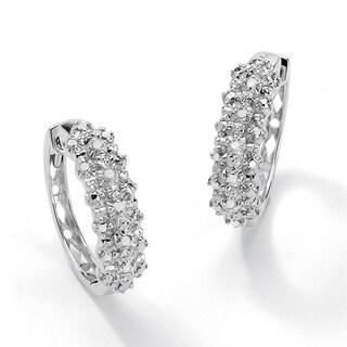 PalmBeach 1/10 TCW Ice Diamond Huggie-Hoop Earrings in Platinum over .925 Sterling Silver
