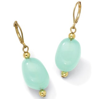 PalmBeach Gold Overlay Lab-created Chalcedony Earrings Naturalist