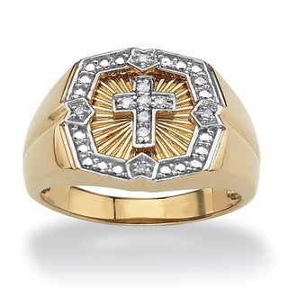 PalmBeach Gold/ Silver Men's 1/10ct TDW Diamond Ring (H-I, I2-I3)