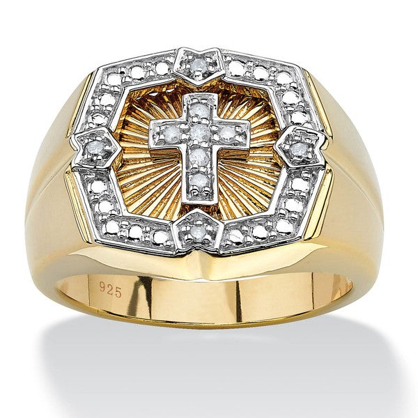 PalmBeach Men's .10 TCW Round Diamond 18k Gold over Sterling Silver Cross Ring