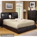 Ambo Padded Leatherette Platform Bed with Built-in Table
