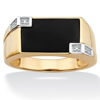 PalmBeach Gold over Silver Men's Onyx and Diamond Accent Ring