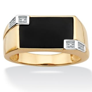 Neno Buscotti Gold over Silver Men's Onyx and Diamond Accent Ring