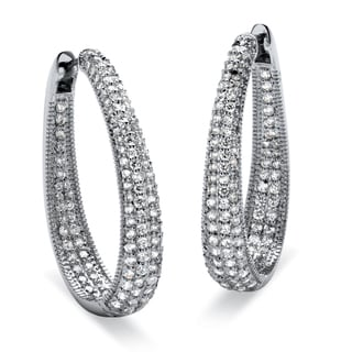 PalmBeach 8.10 TCW Round Cubic Zirconia Silvertone Oval-Shape Inside-Out Huggie Hoop Earrings Glam CZ