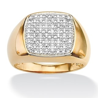 PalmBeach Gold/ Silver Men's 1/10ct TDW Diamond Ring (G-H, I2-I3)