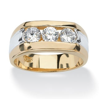 PalmBeach Men's 1.50 TCW Channel-Set Cubic Zirconia 18k Gold over Sterling Silver Triple-Stone Ring
