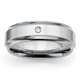 Isabella Collection Titanium Diamond Accent Grooved Band