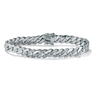 PalmBeach Silvertone Men's Diamond Accent Curb Bracelet