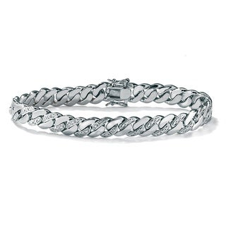 PalmBeach Men's Diamond Accent Curb-Link Bracelet Platinum-Plated 8 1/2""