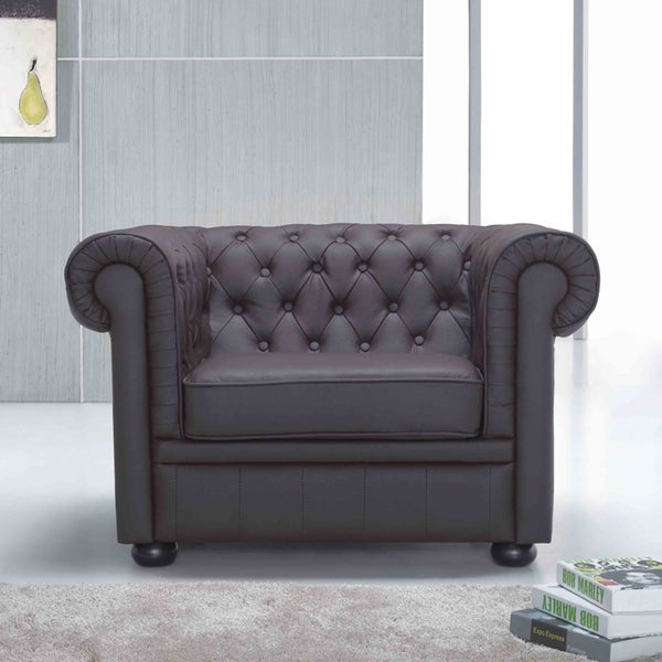 Genuine Leather Brown Quilted Seat Chesterfield Style Armchair