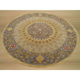 Hand-tufted Gombad Wool Rug (6' Round)