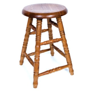 Solid Medium Oak Backless Saddle Swivel 30-inch Bar Stool