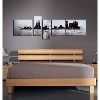 'The City' 5-piece Gallery-wrapped Hand Painted Canvas Art Set