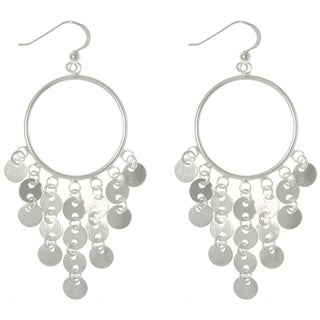 Carolina Glamour Collection Sterling Silver Hoop and Disc Earrings