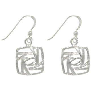 Carolina Glamour Collection Sterling Silver Stylized Square Earrings