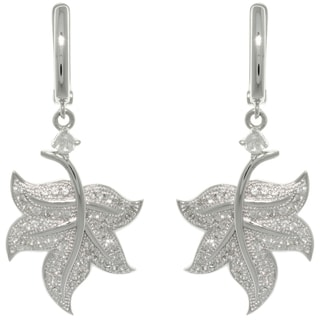 Carolina Glamour Collection Sterling Silver Pave CZ Leaf Earrings