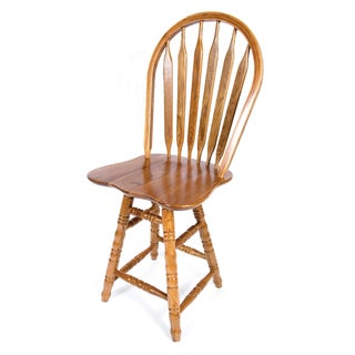 Solid Medium Oak Arrow Back Swivel Turned Counter 24-inch Bar Stool
