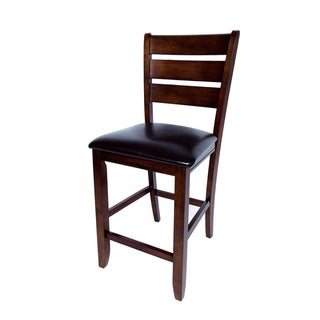 Solid Hardwood Brown Ladder Back Cushion 24-inch Counter Height Bar Stool (Set of 2)