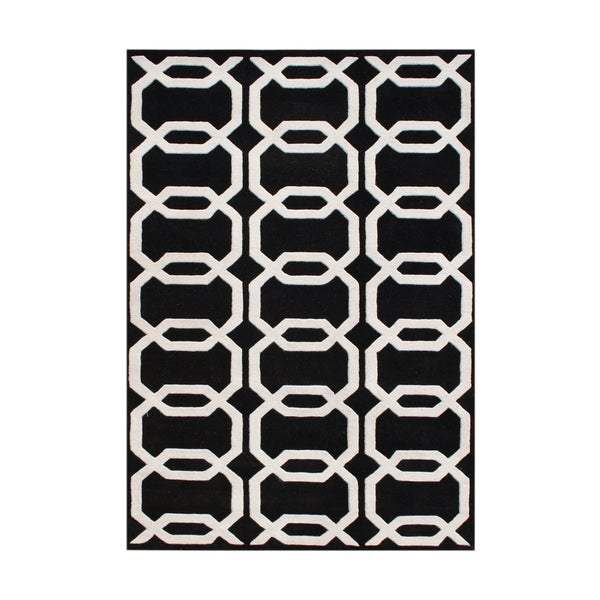 Alliyah Hand-tufted Black Floridly New Zealand Wool Rug (9' x 12')