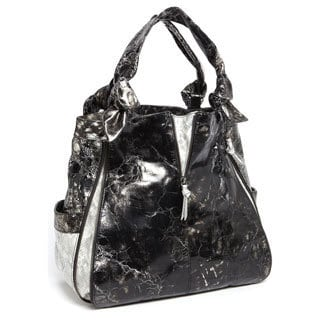 Vintage Reign 'Marky' Black and Silver Snake Embossed Hobo Bag