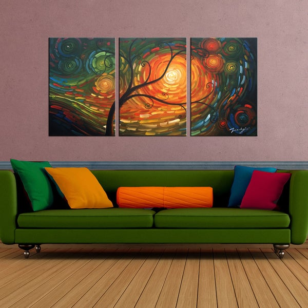 'Dream of A Tree' 3-piece Gallery-wrapped Hand Painted Canvas Art Set